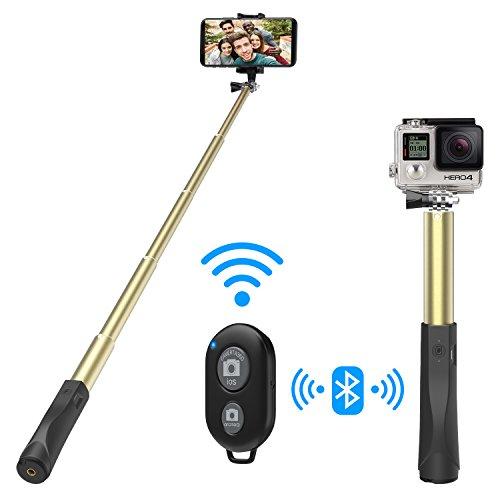 MoKo Selfie Stick mit Fernbedienung, Leichtes Gewicht Twist & Lock ausziehbares Einbeinstativ aus Aluminium, Drahtloser Fernauslöser, Verstellbare Selfie-Stange für iPhone XS/XS Max/XR, Golden