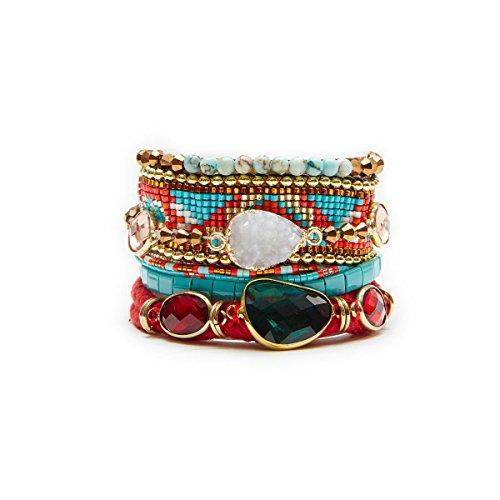 Gioielli-Hipanema-Manchette Rosso/Blu in perline e pietre-Hipanema Tango-dimensioni: M