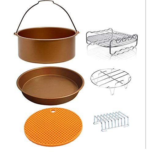 AISHFP ZubehörZubehör für Luftfritteusen, 6-teiliges 8-Zoll-Set, Grill-Pizzaschale mit Bratenkorb, passend für Zubehör mit 5,3 bis 5,8 Qt