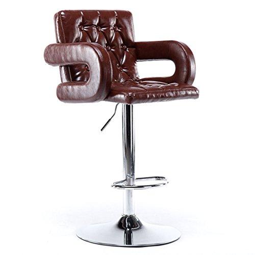 GJM Shop tabouret pivotant à 360 ° réglable en hau Européen Extérieur En Similicuir + Éponge Haute Résistance Chaise De Bar Levage Pivot Réglable De Levage De Gaz Bar Ménage Tabouret Haut Avec Ruban Tabouret Haut Minimaliste Moderne Tabouret De Bar --- Sponge + Leatherette / surface de chaise en bo ( Couleur : Marron , taille : 70-84cm )