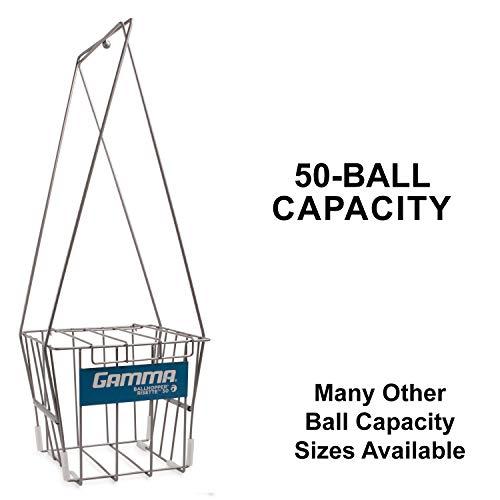GAMMA Sport Tennis ballhoppers-langlebig, praktisch, robuste Konstruktion, für Tennis Ball Pickup, Transport und Aufbewahrung, (verschiedene Designs/Kapazitäten zu halten 50, 55, 75, 90, 110, 140Bälle), unisex - erwachsene, Risette 50, Silver (Holds 50 Balls), Holds 50 -