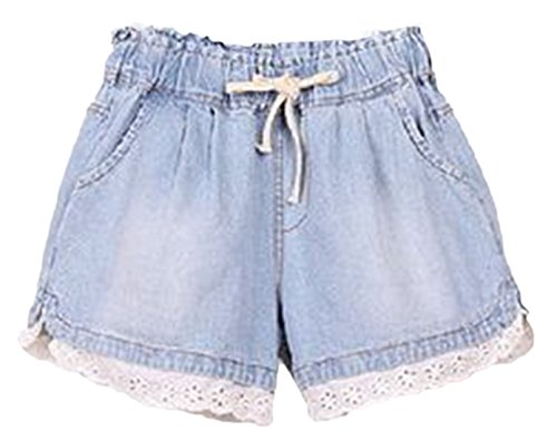 Floral Aus Polyester Volant (Frieda Fashion - Damen Short zum Schnüren mit Spitze und Taschen, 38, Hell-Blau)