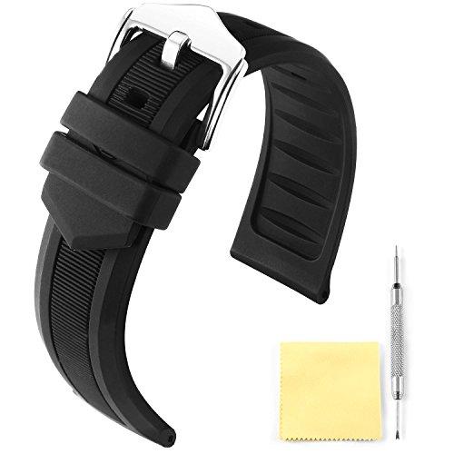 BINLUN Silikon Gummi Uhrenarmband Smart Watch Uhren Armband (Weiß/Rot/Schwarz/Blau/Orange)(12mm/14mm/16mm/18mm/19mm/20mm/21mm/22mm/24mm) (19mm Uhrenarmband Lange)