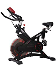 ISE Profi Indoor Cycle Ergometer Heimtrainer mit Pulsmesser, LCD Anzeige,Armauflage,Pulsgurt&gepolsterte,10kg Schwungrad, Fitnessbike Speedbike mit flüsterleise Riemenantrieb-Fahrrad bis 150Kg
