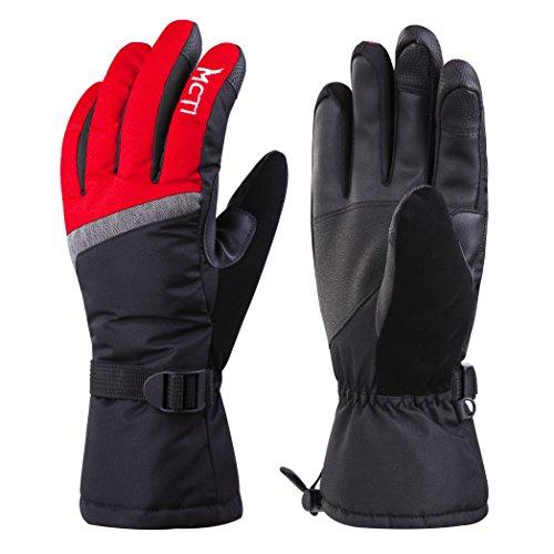 MCTi Skihandschuhe Winterhandschuhe Damen Warm Wasserdicht Touchscreen Handschuhe Thermo Thinsulate mit Anti-verloren Handschlaufe (Anti-handschuh)