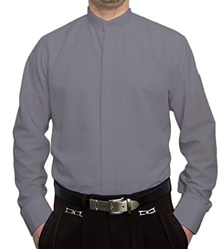Designer Herren Hemd Stehkragen Bügelfrei Modell S9 Grau Steh Kragen Hemden Größe XL 43 (Hemd Kragen-größe)
