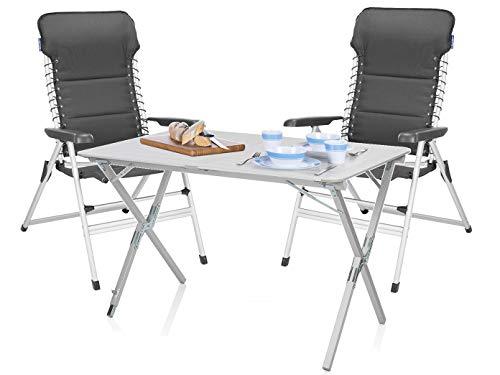 Luxus Camping SET - Alu Campingtisch groß mit Komfort Stühlen leicht & klappbar – einfach zu verstauen!
