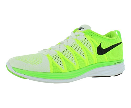 Nike Flyknit Lunar2 Us 6 Rose Running Shoe WHITE/BLACK-VOLT-ELECTRIC GREEN