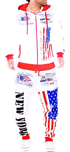 Unbekannt Herren Fitness Jogginganzug Sportanzug Trainingsanzug (XXL, Weiß (A.USA_1)) -