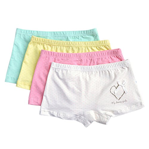 De feuilles 4PCS Kids Girls' Cute Knickers Boxers Briefs Underwear Shorts Boyshort Underpants