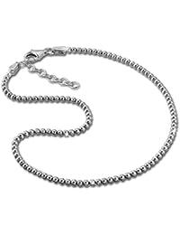 SilberDream Chaine de cheville Boules 27cm diamanté - Argent Sterling 925 - Bracelet de cheville - Bijoux Pied SDF2164J