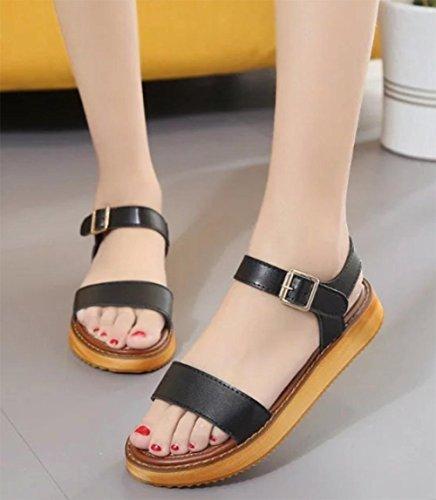 Plat avec de simples sandales plates sandales à fond épais rugueux avec le mot chaussures cingulaire Black