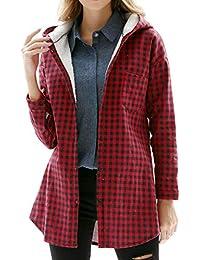 BLACKMYTH Mujer Manga Larga Grueso Camisa de Cuadros Casual Invierno Blusa con Capucha Tops