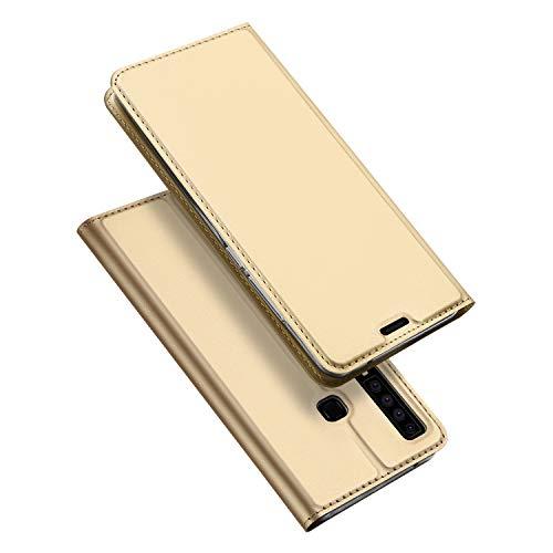 DUX DUCIS Hülle für Samsung Galaxy A9 2018, Leder Flip Handyhülle Schutzhülle Tasche Case mit [Kartenfach] [Standfunktion] [Magnetverschluss] für Samsung Galaxy A9 2018 (Golden)