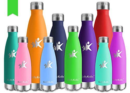 KollyKolla Vakuum Isolierte Edelstahl Trinkflasche, 750ml BPA Frei Wasserflasche Auslaufsicher, Thermosflasche für Sport, Outdoor, Fitness, Büro, Kinder, Schule, Kleinkinder, Kindergarten (Grün)