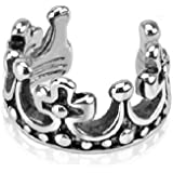 Pendientes de corona de rey (cierre de concha falso, pendiente de aro de rodio y plata, para Mujer Mujeres Hombre)