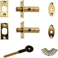 Bulk Hardware BH01599 63mm Tür- oder Fenster-Sicherheit Mortise Rack-Schraube mit Schlüssel poliert Messing - Packung mit 2