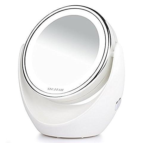 Tragbar beidseitig LED Kosmetikspiegel, 1/7-facher Vergrößerung,Beleuchtete Reise Vanity Mirror,360 (Doppelseitige Beleuchteter Make-up-spiegel)