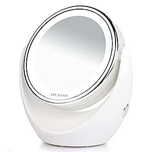 Tragbar beidseitig LED Kosmetikspiegel, 1/7-facher Vergrößerung,Beleuchtete Reise Vanity Mirror,360 Schwenkbar