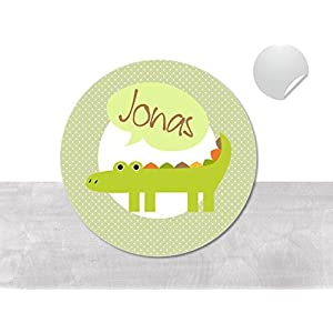 Namensaufkleber • Krokodil • 24/120/240 Stück (N22) Aufkleber / Sticker vom Papierbuedchen