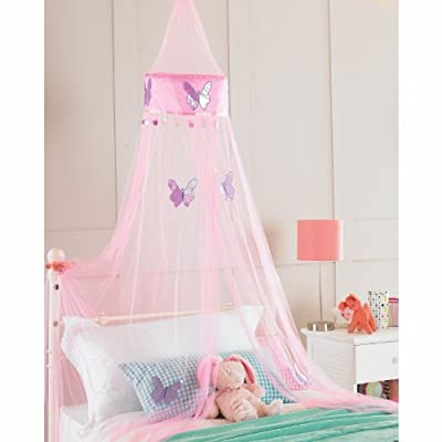 Childrens Girls Bed Canopy Mosquito Fly Netting Net 30x230cm - Pink Butterfly produced by Country Club - quick delivery from UK.