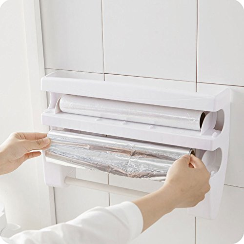 ebilun cocina soporte de pared lámina de Se aferran película lata dispensador de rollo de papel toalla Holder rack, color blanco