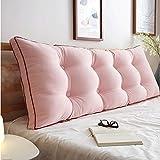Unbekannt JXQ Gewaschen Baumwolle Kopfteil weiche Tasche Kissen Baumwolle Abnehmbare Bett Kissen große zurück Sofa Kissen Bett zurück (Color : Pink, Größe : 100 * 50 * 20cm)
