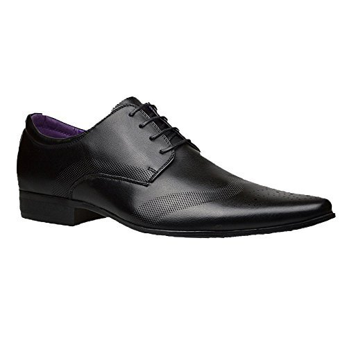 Mens Fashion New Black Leather Shoes Formal Smart Dress UK Size 6 7 8 9 10 11 (UK 10 / EU 44, Black)