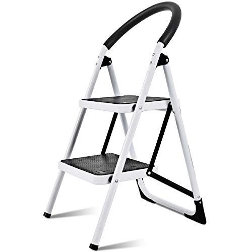 COSTWAY Trittleiter, 2 Stufen Klapptritt, Stehleiter klappbar, Haushaltsleiter Stufenleiter Metall, Stufenstehleiter 150KG