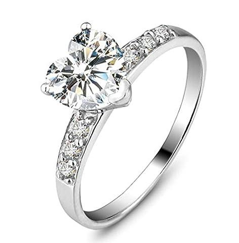 Epinki Schmuck, Damen Ringe 925 Silber Love Herz Form Damenringe mit Zirkonia Heiratsantrag Ring Verlobungring Gr.52 (Prinzessin Set Manschettenknöpfe)