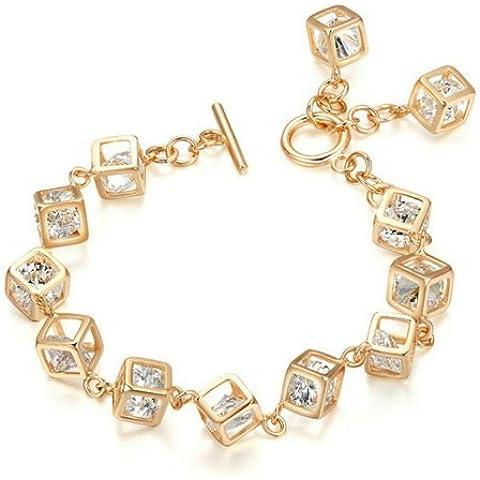 Única macrocito Yoursfs cubo de cristal austriaco cadena 18 K chapado en oro pulsera para las