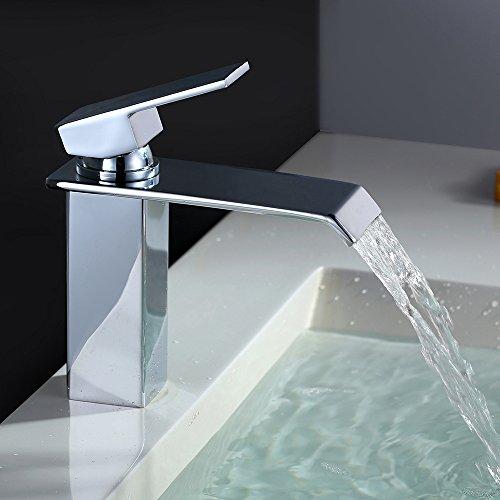 Homelody - Wasserfall Waschtisch-Einhebelmischer, ohne Ablaufgarnitur, breiter Auslauf, Chrom