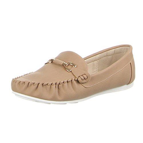 Damen Schuhe, 1008-BL, MOKASSINS Hellbraun