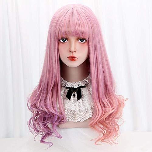 GKGKLA 28''Synthetische Lange Wellenförmige Perücken Mit Rosa Lila Haar Cosplay Party Kostüm Perücke Für Frauen - Mit Rosa Haaren Kostüm