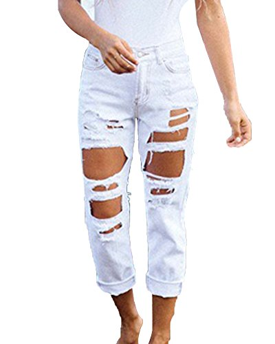 Jeans straight donna hole strappati pantaloni in denim boyfriend jeans distrutti lunghi pantaloni bianco l
