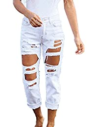 f361cc90c246 Jeans Straight Donna Hole Strappati Pantaloni in Denim Boyfriend Jeans  Distrutti Lunghi Pantaloni