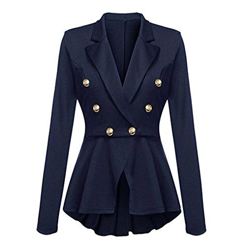 Breasted Blazer (Sunday Winter Mäntel Damen Langarm Blazer Rüschen Schößchen Knopf Freizeitjacke Outwear (Blau, 2XL))