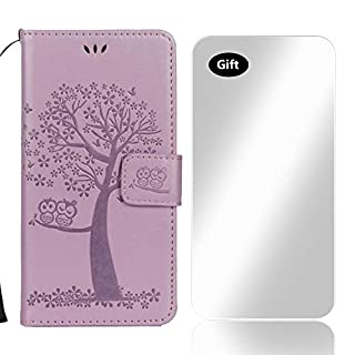 Bear Village® Case for Apple iPhone X/Xs, Wallet Case PU Leather iPhone X Xs Flip Cover Silicone Back Magnetic Stand with Free Tempered Glass Screen Protector (#3 Purple)