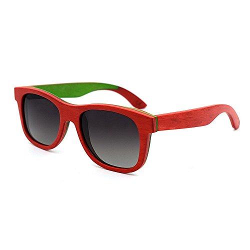 Yiph-Sunglass Sonnenbrillen Mode Bunte Holz Retro-Stil Handcraft umrandeten Sonnenbrillen farbige Linse UV400 Schutz für Unisex-Erwachsene (Farbe : Rot)