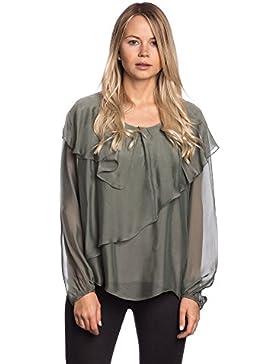 [Sponsorizzato]Abbino 8554 Bluses Tops Donne - Made in Italy - 6 Colori - Eleganti Mezza Stagione Primavera Estate Autunno Tinta...