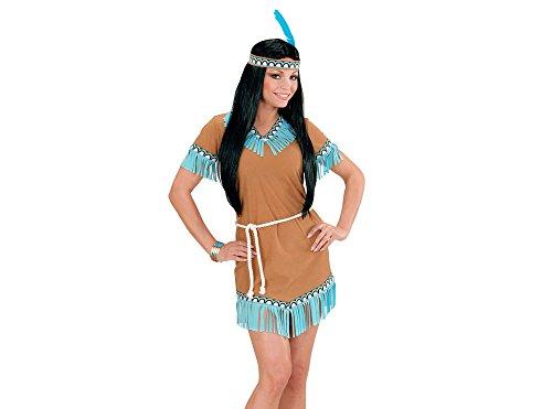 WIDMANN 06661 - Erwachsenenkostüm Indianerin, Kleid, Gürtel, Stirnband mit Feder, braun, G Preisvergleich