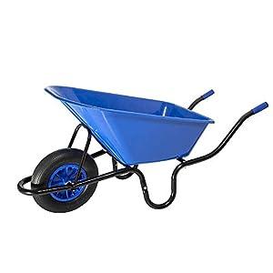GONGJU 90L Jardín Constructores Carretilla de plástico con pinchazo Prueba, Azul