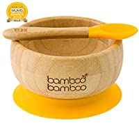 Baby Suction Bowls and Matching Spoon Set, Suction Stay Put Feeding Bowl, Natural Bamboo