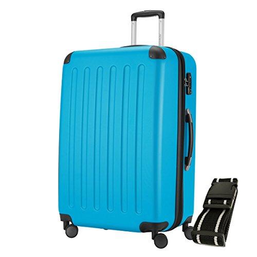 HAUPTSTADTKOFFER® Reisekoffer XL · Hartschalenkoffer · Zahlenschloss + GEPÄCKGURT (128 Liter Cyan Blau (SPREE))