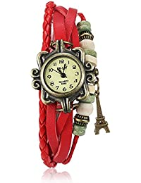 Naivo Women's Quartz Brass Plated Stainless Steel and Leather Casual, Color:Red (Model: WATCH-1206)