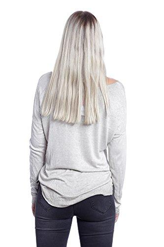 Abbino 6286 Chemisiers Blouses Tops Femmes Filles - Fabriqué en Italie - Plusieurs Couleurs - Été Automne Hiver Plaine Chemises Brillant Viscose Manches Longues Elegante Classique - Taille Unique Beige (Art. 6286-3)