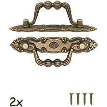 fuxxer–2X Antico Maniglie pieghevole | per cassetti, cassapanche, armadi, credenze, cucina | Bronzo antico vintage design 10,5x 2cm | Set di viti