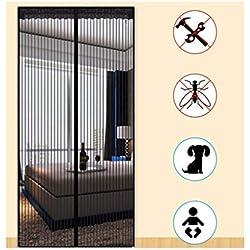 Magnétique Moustiquaire Porte Rideau De Maille, Contrôle Des Insectes Moustiquaire Fermeture Automatique Facile À Installer Fort Chambre Noir Porte de la cour Chambre D'enfants (Size : 80×200cm)