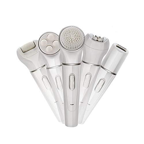 QlQ 5 in 1 elektrische Epilierer Bikini Trimmer nass und trocken wiederaufladbare Damen Rasierapparat Epilierer Gesichtsmassage-Kit mit Rasierkopf und Epilierer Kopf und Kallus-Entferner