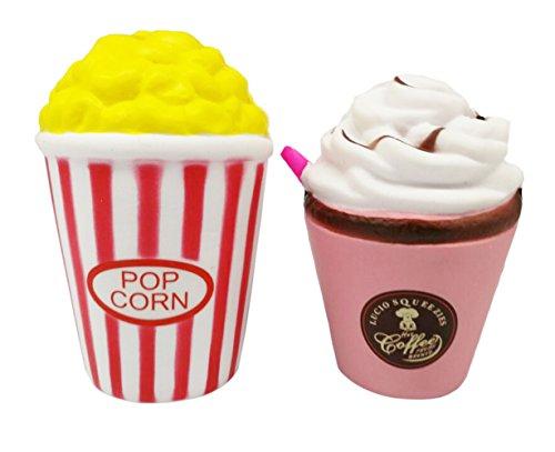 LaliLaco Squishy Popcorn und Strohbecher 2PCS Squeeze Spielzeug langsam steigenden Stressabbau für Erwachsene Kinder Geschenk